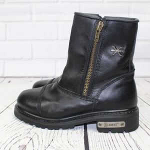 X Element Black Leather Motorcycle Boots Size 8